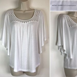 Fresh Lace Neckline WHITE Tunic Blouse